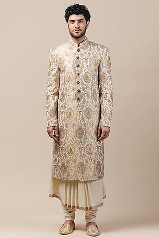 Ivory Brocade Embroidered Sherwani Set by Tarun Tahiliani Men
