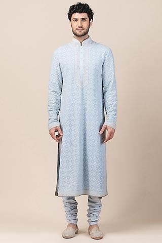 Powder Blue Embroidered Chikankari Kurta With Pant by Tarun Tahiliani Men