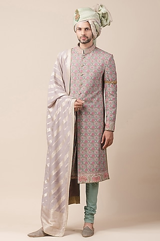 Jade Lavender Printed Sherwani Set by Tarun Tahiliani Men