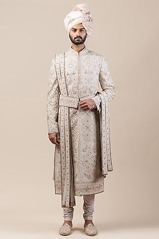 Grey Embroidered Sherwani Set With Jutti Fabric by Tarun Tahiliani Men