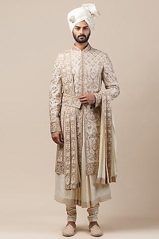 Ivory Embroidered Sherwani Set With Safa by Tarun Tahiliani Men