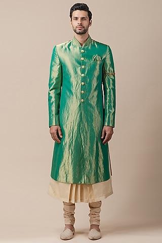 Green Sherwani Set With Textured Collar by Tarun Tahiliani Men