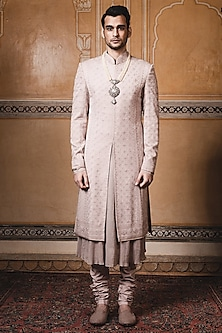 Oyster Chikankari Embroidered Sherwani Set by Tarun Tahiliani Men