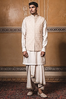 Gold Embroidered Jacket With Kurta by Tarun Tahiliani Men