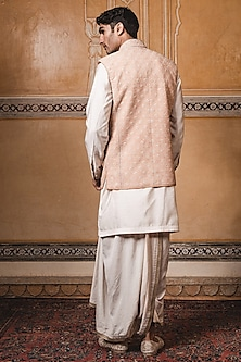 Rust Embroidered Jacket With Kurta by Tarun Tahiliani Men