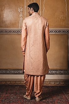 Rust Aari Embroidered Sherwani Set by Tarun Tahiliani Men