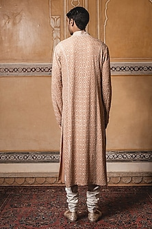 Rust Thread Embroidered Kurta Set by Tarun Tahiliani Men