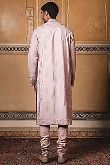 Salmon Embroidered Kurta Set by Tarun Tahiliani Men