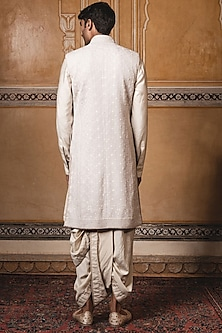 Oyster Intricately Embroidered Sherwani Set by Tarun Tahiliani Men