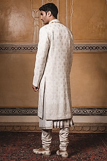 Ivory Chikankari Embroidered Sherwani Set by Tarun Tahiliani Men