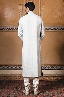 Sky blue Embroidered Kurta Set by Tarun Tahiliani Men