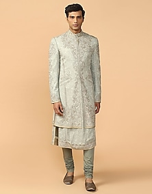 Shell Chikankari Embroidered Sherwani Set by Tarun Tahiliani Men