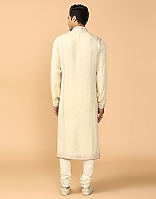 Shell Chikankari Embroidered Kurta Set by Tarun Tahiliani Men