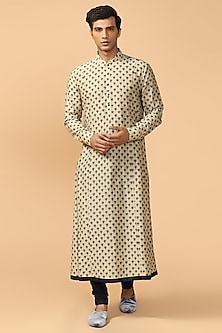 Cora Printed Kurta With Maroon Pants by Tarun Tahiliani Men-SHOP BY STYLE