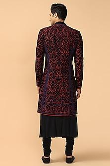 Black & Navy Blue Embroidered Sherwani Set by Tarun Tahiliani Men