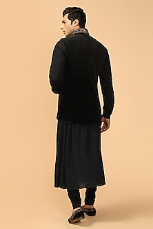 Navy Blue Bundi Jacket With Kerchief by Tarun Tahiliani Men