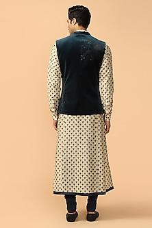 Black Bundi Jacket With Kerchief by Tarun Tahiliani Men