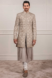 Grey Embroidered Sherwani Set by Tarun Tahiliani Men