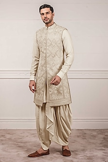 Ivory Embroidered Sleeveless Sherwani Set by Tarun Tahiliani Men