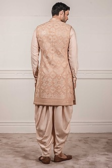 Beige Embroidered Sleeveless Sherwani Set by Tarun Tahiliani Men