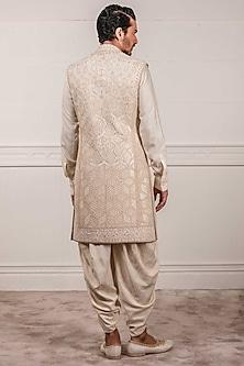 Ivory Zardosi Embroidered Sherwani Set by Tarun Tahiliani Men