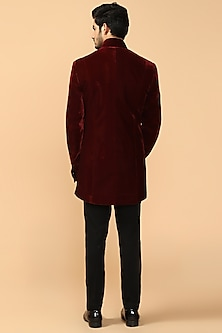 Maroon Asymmetric Bandhgala Jacket With Pants & Kerchief by Tarun Tahiliani Men