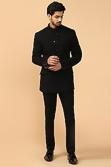 Black Bandhgala Jacket With Pants & Kerchief by Tarun Tahiliani Men