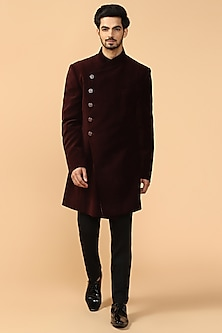 Burgundy Bandhgala Jacket With Pants & Kerchief by Tarun Tahiliani Men