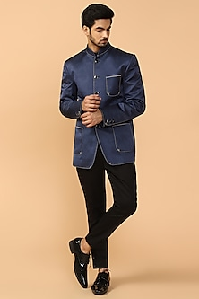 Midnight Blue Bandhgala Jacket by Tarun Tahiliani Men