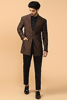 Mahogany Brown Bandhgala Jacket With Black Pants & Kerchief by Tarun Tahiliani Men