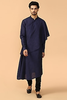 Navy Blue Draped Kurta Set by Tarun Tahiliani Men