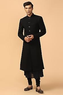 Black Sherwani With Kerchief by Tarun Tahiliani Men