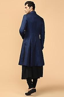 Sapphire Blue Pleated Sherwani With Kerchief by Tarun Tahiliani Men