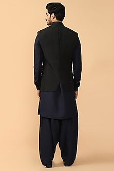 Black Quilted Bundi Jacket With Kerchief by Tarun Tahiliani Men