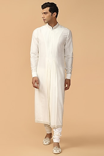 Ivory Pleated Kurta Set by Tarun Tahiliani Men