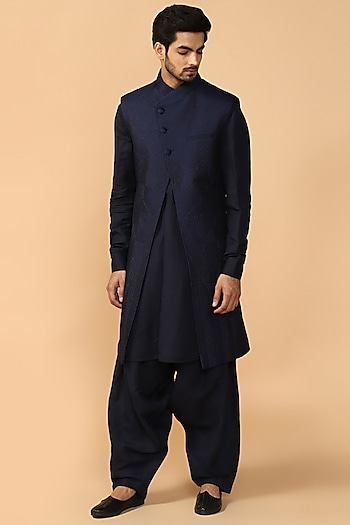 Navy Blue Quilted Sherwani Set With Kerchief by Tarun Tahiliani Men