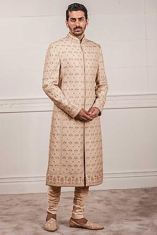 Peach Zardosi Embroidered Sherwani Set by Tarun Tahiliani Men