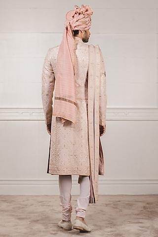 Peach Aari Embroidered Sherwani Set by Tarun Tahiliani Men