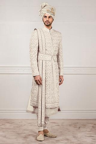 Ivory Machine Embroidered Sherwani Set by Tarun Tahiliani Men
