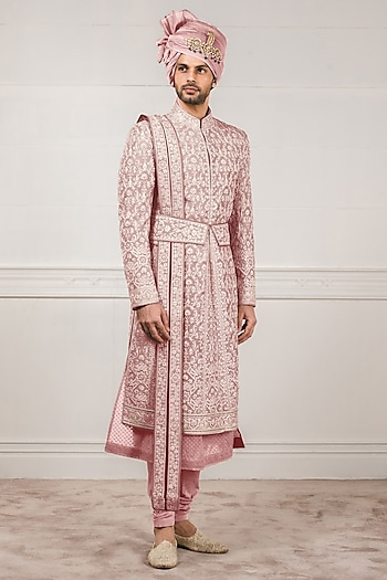 Salmon Pink Machine Embroidered Sherwani Set by Tarun Tahiliani Men