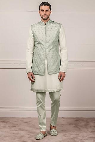 Jade Green Embroidered Waistcoat by Tarun Tahiliani Men