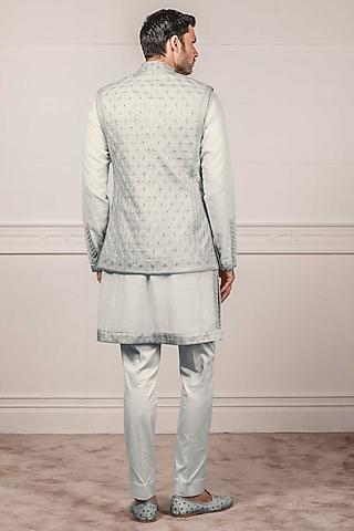 Sky Blue Embroidered Waistcoat by Tarun Tahiliani Men