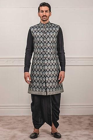 Teal Embroidered & Printed Sherwani Set by Tarun Tahiliani Men