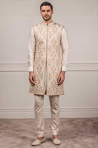 Ivory Embroidered Sherwani Set by Tarun Tahiliani Men