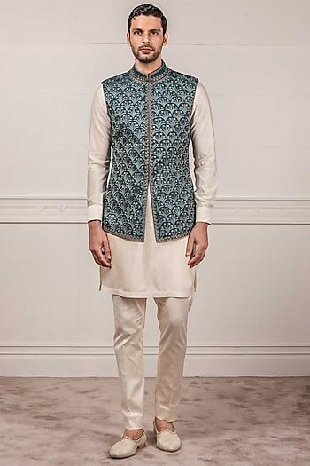 Teal Machine Embroidered Waistcoat by Tarun Tahiliani Men