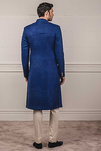 Navy Blue Textured Sherwani Set by Tarun Tahiliani Men