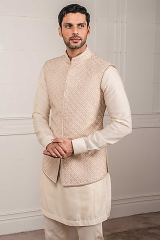 Ivory Thread Embroidered Waistcoat by Tarun Tahiliani Men
