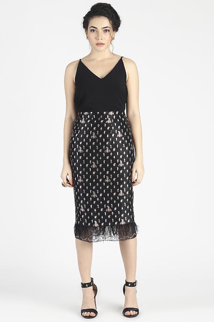 Black Silk Jacquard Skirt by House of Three