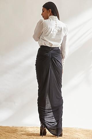 Black Viscose Draped Skirt by House of Three