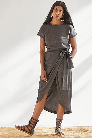 Grey Viscose Draped Wrap Skirt by House of Three